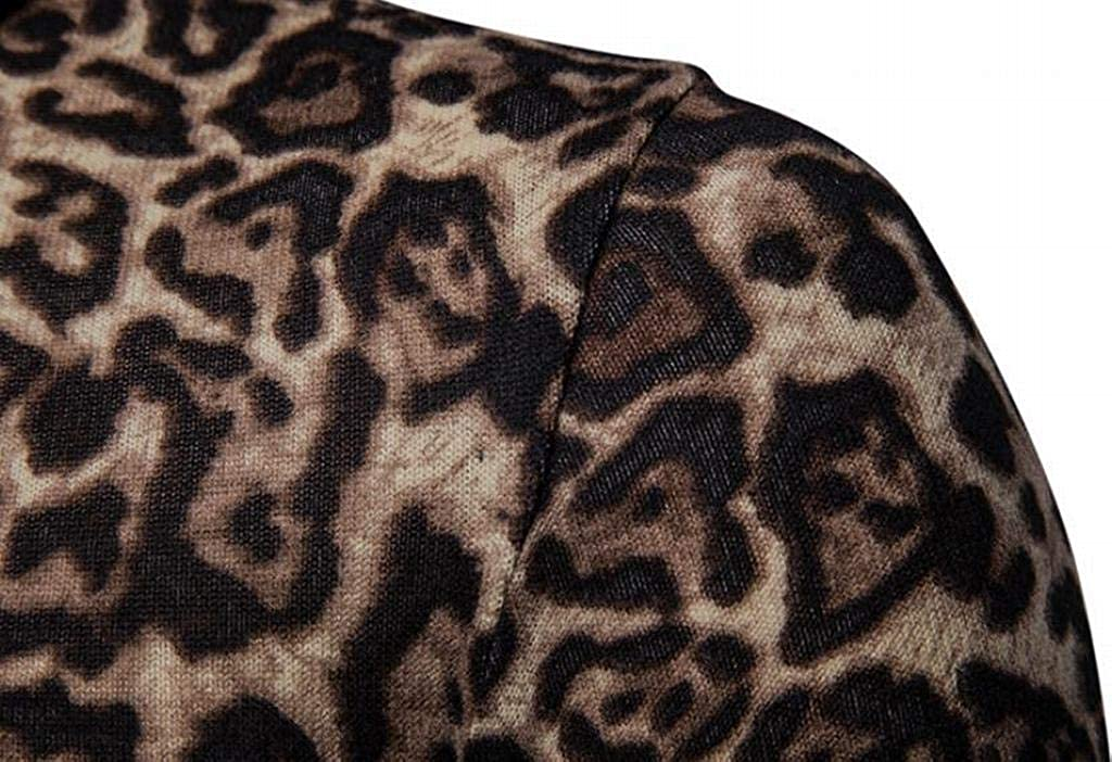 XiaoTianXinMen XTX Men Plus Size with Velvet Warm High Neck Long Sleeve Leopard Printed Pullover Sweater