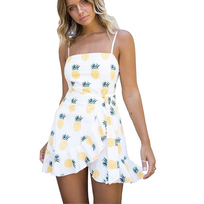 212b179dd3316 ilovgirl Summer Dress Plus Size with White Pineapple Print Waist tie Spaghetti  Strap Ruffle Trim Mini