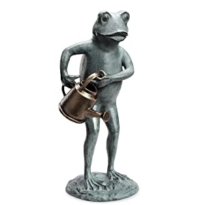 "SPI Home Frog with Watering Can Garden Sculpture 19""H"