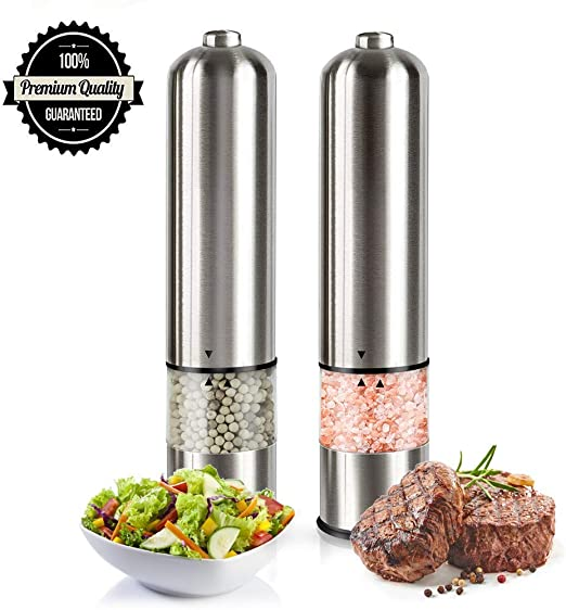 Refillable Battery Operated Stainless Steel Spice Mills with Light Electric Salt and Pepper Grinder Set Automatic One Handed Push Button Peppercorn Grinders and Sea Salt Mills