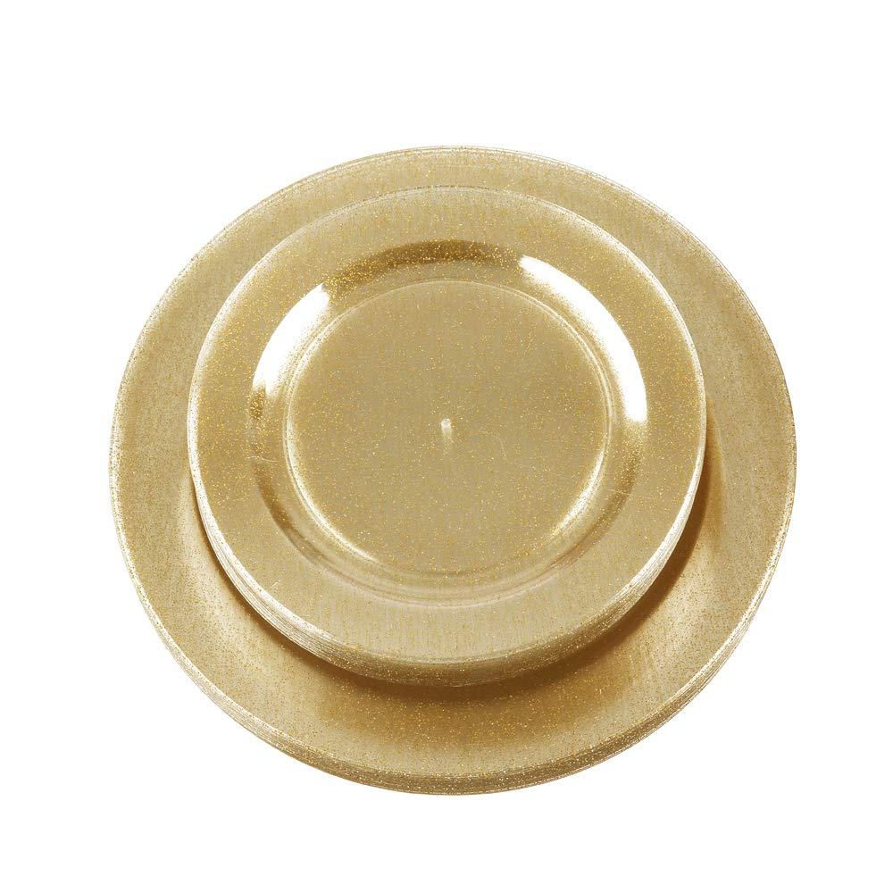 金色のプラスチック皿60枚、ディナープレート30枚、サラダプレート30枚。   B07P583474