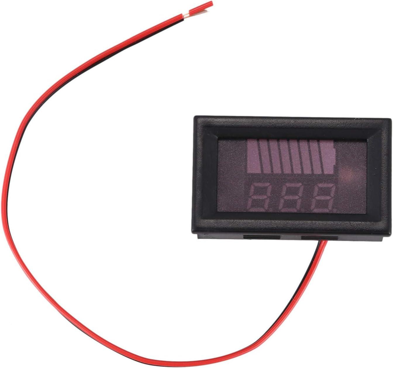 Mucjun 12 V-60 V Elektronischer Auto-Akku-Z/ähler Anzeige DC Voltmeter Autobatterie Lithium Digital