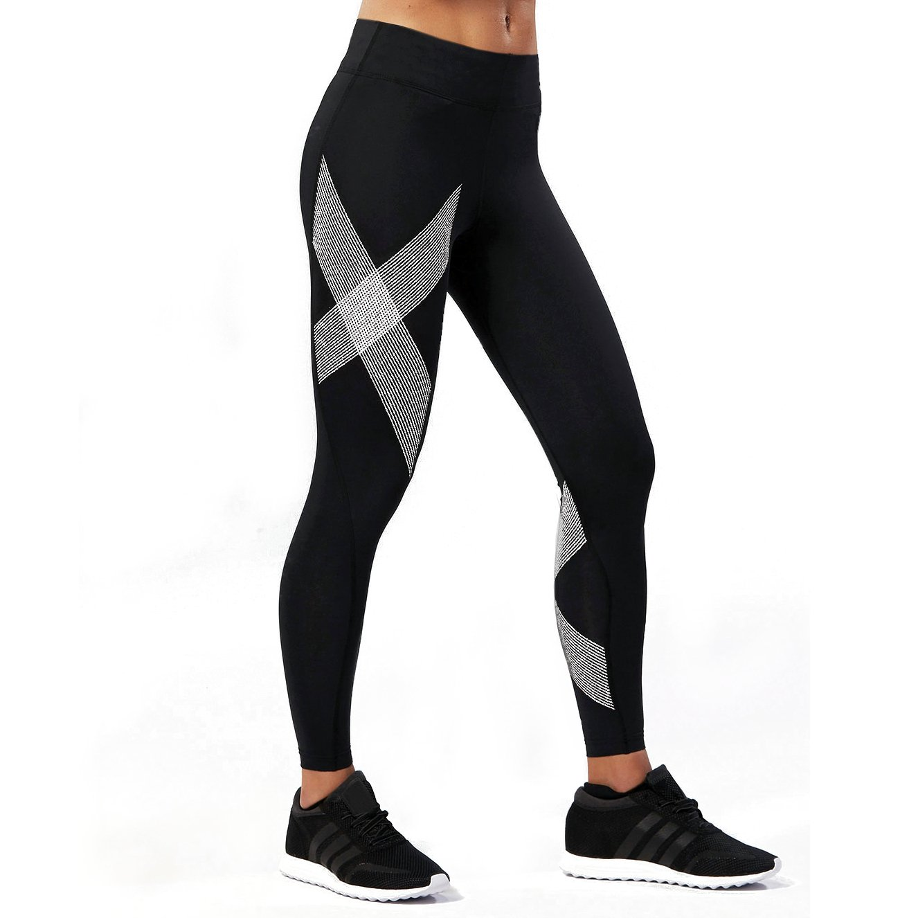 2XU Women's Mid-Rise Compression Tights, Black/Striped White, X-Small