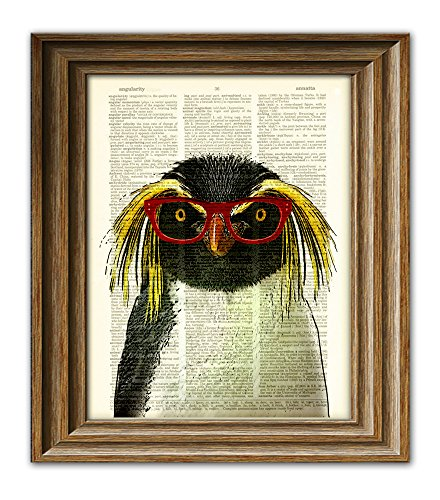 Crested Penguin Smarty Pants penguin with red glasses illustration beautifully upcycled dictionary page book art print