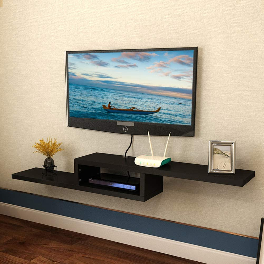 Floating Tv Shelf Cabinet,Wooden Wall Mounted Tv Console Asymmetric Wall Hanging Storage Shelf for Set-top Box Cable Box Black 150x23x20cm(59x9x8inch)