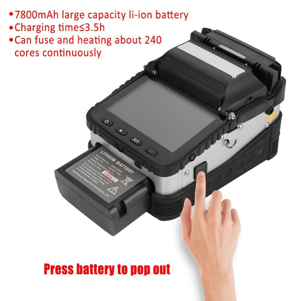 US Plug AC100V-240V High Precision Fiber Optic Fusion Splicer Full Automatic Fast AI-7 LCD Welding Splicing Machine Set Built-in Lighting for Night Operation