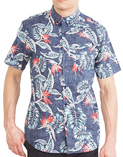 Mens Hawaiian Shirt Short Sleeve Button Down Shirts - Navy Floral - M