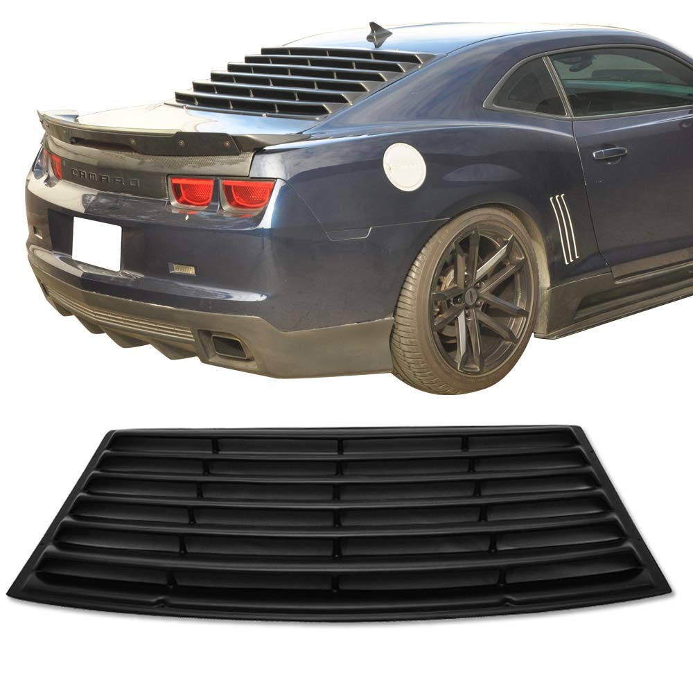Window Louver Fits 2010-2015 Chevy Camaro | Unpainted Black PUR Rear Window Scoop Louver Sun Shade Cover Rain Guard by IKON MOTORSPORTS | 2011 2012 2013 2014