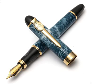 JINHAO PEN NEW GIFT Office writing silver metal gray marble Fountain Pen