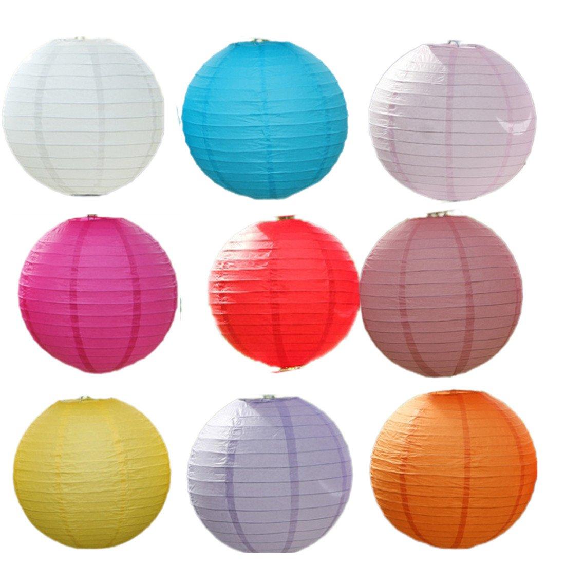 JTC 9Stk. Ballform Papierlampion Papierlaternen Hängedeko Kombination D (50cm)