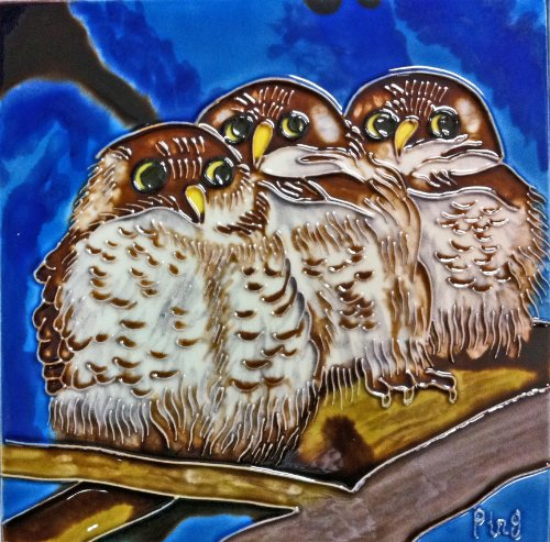 Owl Tile (Continental Art Center BD-2015 8 by 8-Inch Three Owls with Blue Background Ceramic Art Tile)
