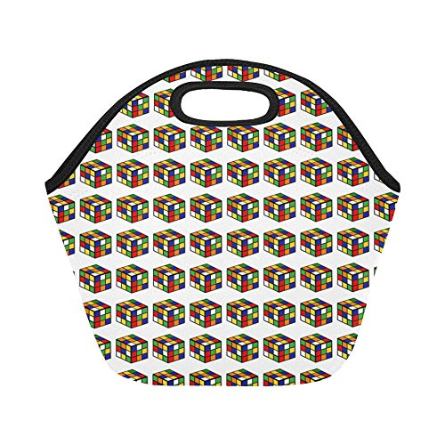80s Lunch Boxes (Insulated Neoprene Lunch Bag Pattern Rubiks Cube Game Puzzle 1980s Color Large Size Reusable Thermal Thick Lunch Tote Bags For Lunch Boxes For Outdoors,work, Office, School)