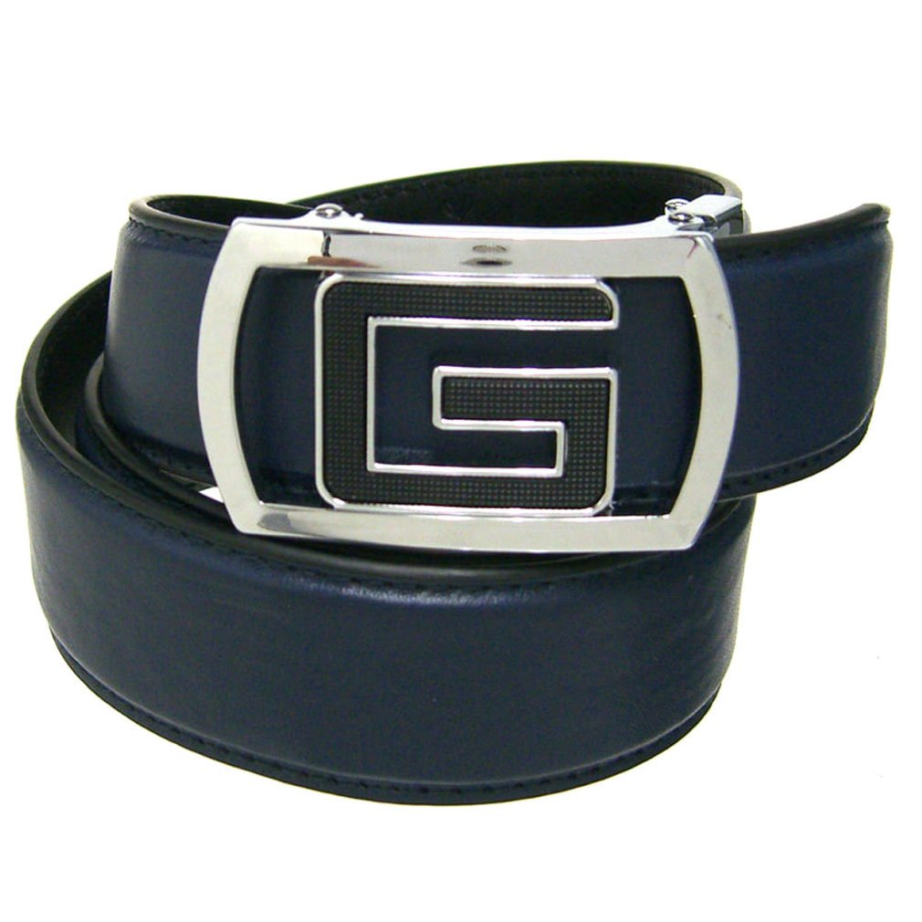 Mens Navy 1.38 Wide Leather Belt with Automatic Buckle
