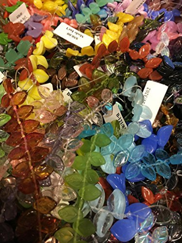Glass Leaves - Czech Beads Mixed Leafs, (jeweltones) 300 Beads