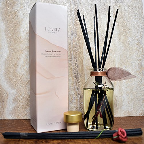 LOVSPA Hawaiian Sandalwood Essential Oil Reed Diffuser with Real Botanicals inside the bottle | Traditional Elegance with the Feel of Homey Comfort | Turn your House into a Home with by LOVSPA