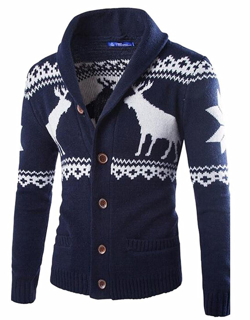 Jaycargogo Mens Fashion Christmas Printed Long Sleeve Knit Sweater Cardigan