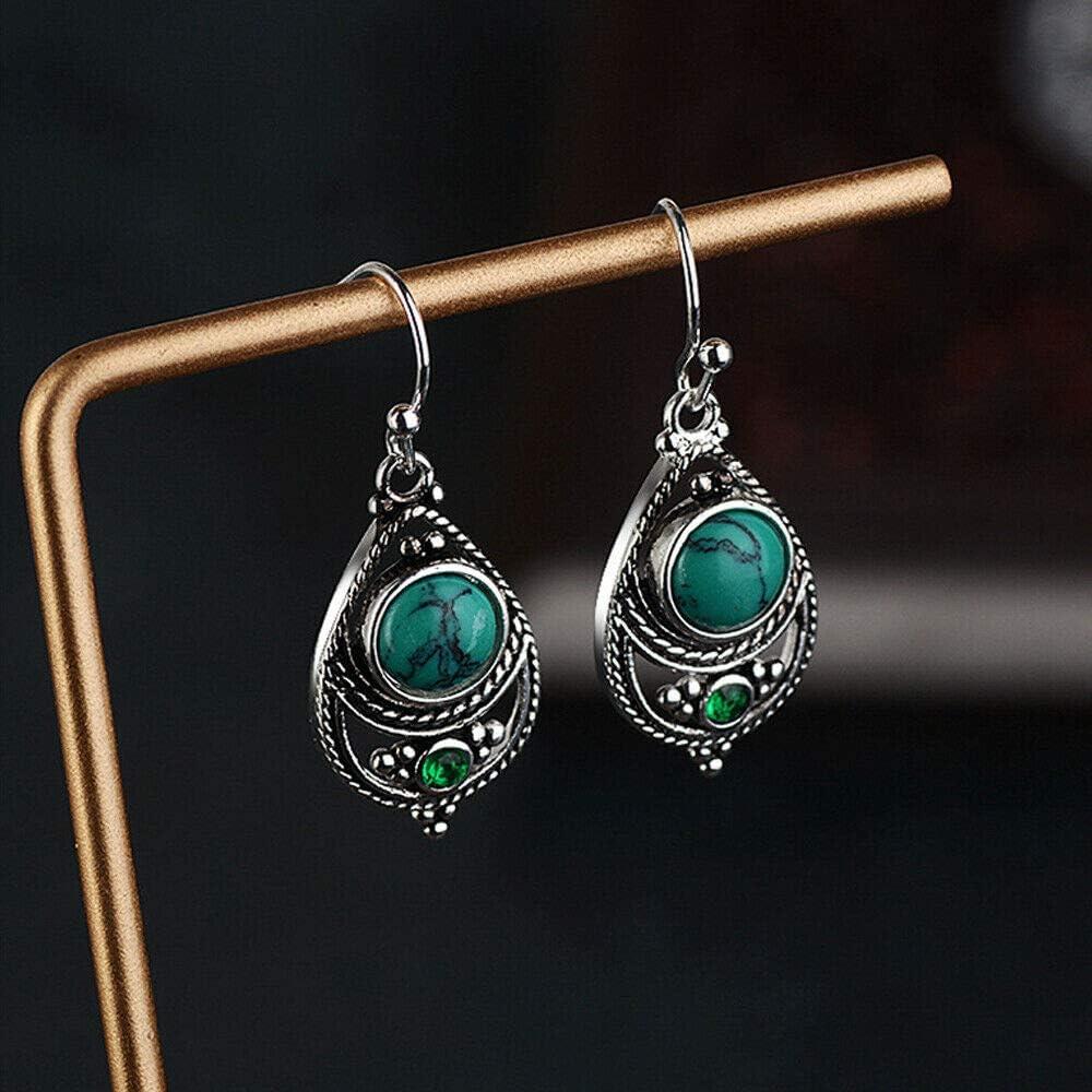 B07X26ZTCK Anna Jewelry Women Vintage Boho Dangle Hook Natural Gemstone 925 Silver Turquoise Earrings 61YJqCAL68L