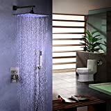 JiaYouJia Stainless Steel LED 16'' Rain Showerhead & Hand Shower System Brushed Nickel
