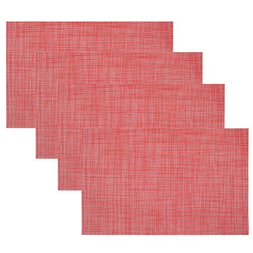 Kisstaker Kitchen Dining Table Placemats Heat Insulation Stain-resistant Table Mats Set of 4 Red