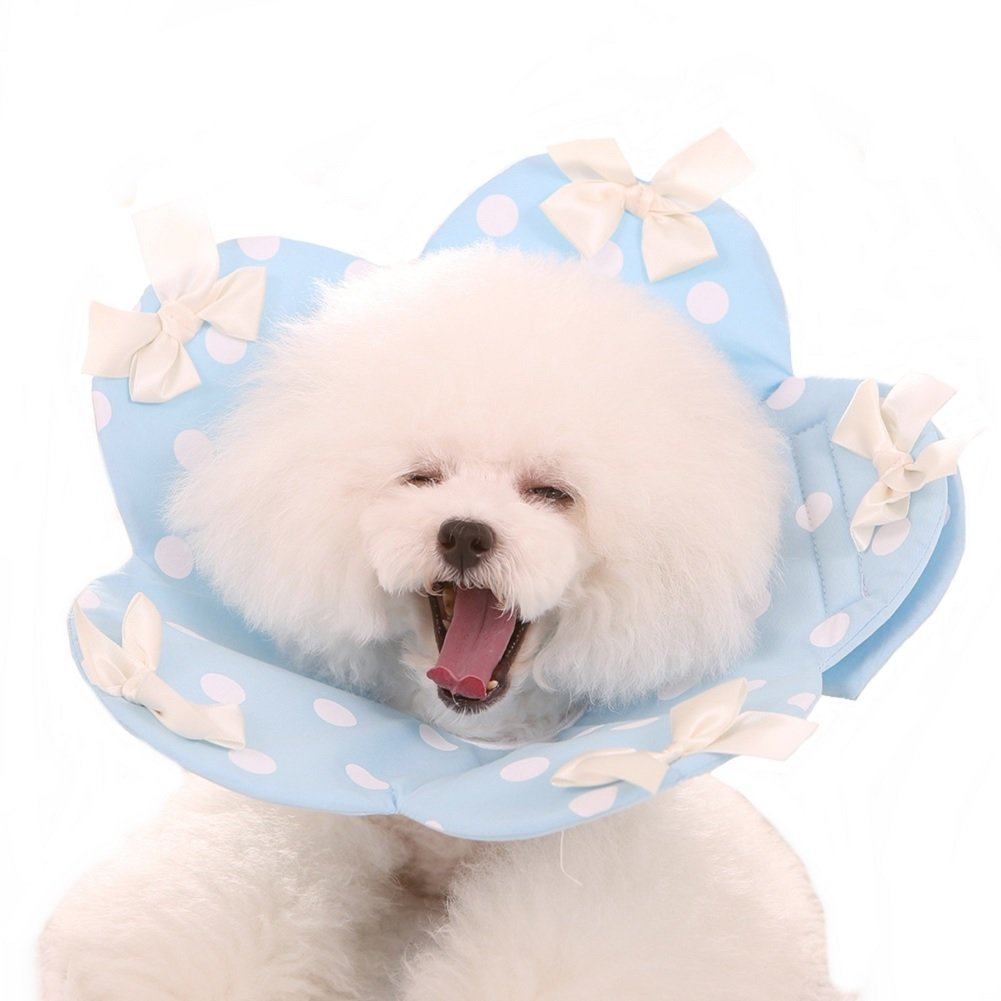 bluee M bluee M Stock Show 1Pc Pet Recovery Collar, Cute Soft Cotton Wound Healing Predective Cone White Ribbon with Polka Dots Elizabethan Collar for Puppy Dog Cat, Light bluee