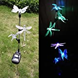 Solar Garden Lights, Hummingbird, Butterfly & Dragonfly Solar Stake Lights, Solar Powered Pathway Lights, Multi-Color Changing LED Lights, Outdoor Decorative Landscape Lighting for Garden/Patio