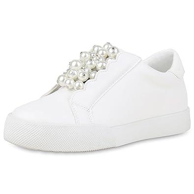 SCARPE VITA Damen Plateau Sneaker Zierperlen Lack Bequeme Freizeit Schuhe 159759 Weiss 41 6NyPS