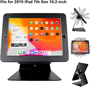 CarrieCathy Desktop Anti-Theft Security Kiosk POS Stand Holder Enclosure with Lock & Keys for Tablets, Compatible with 2019 iPad 7th Generation 10.2 inch, Flip & 360° Swivel Design