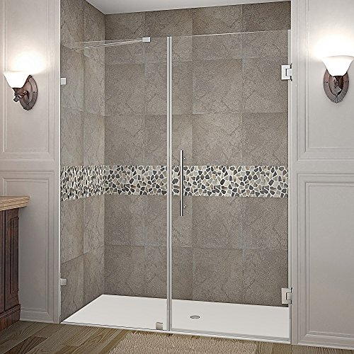 [Aston Nautis Completely Frameless Hinged Shower Door, 60