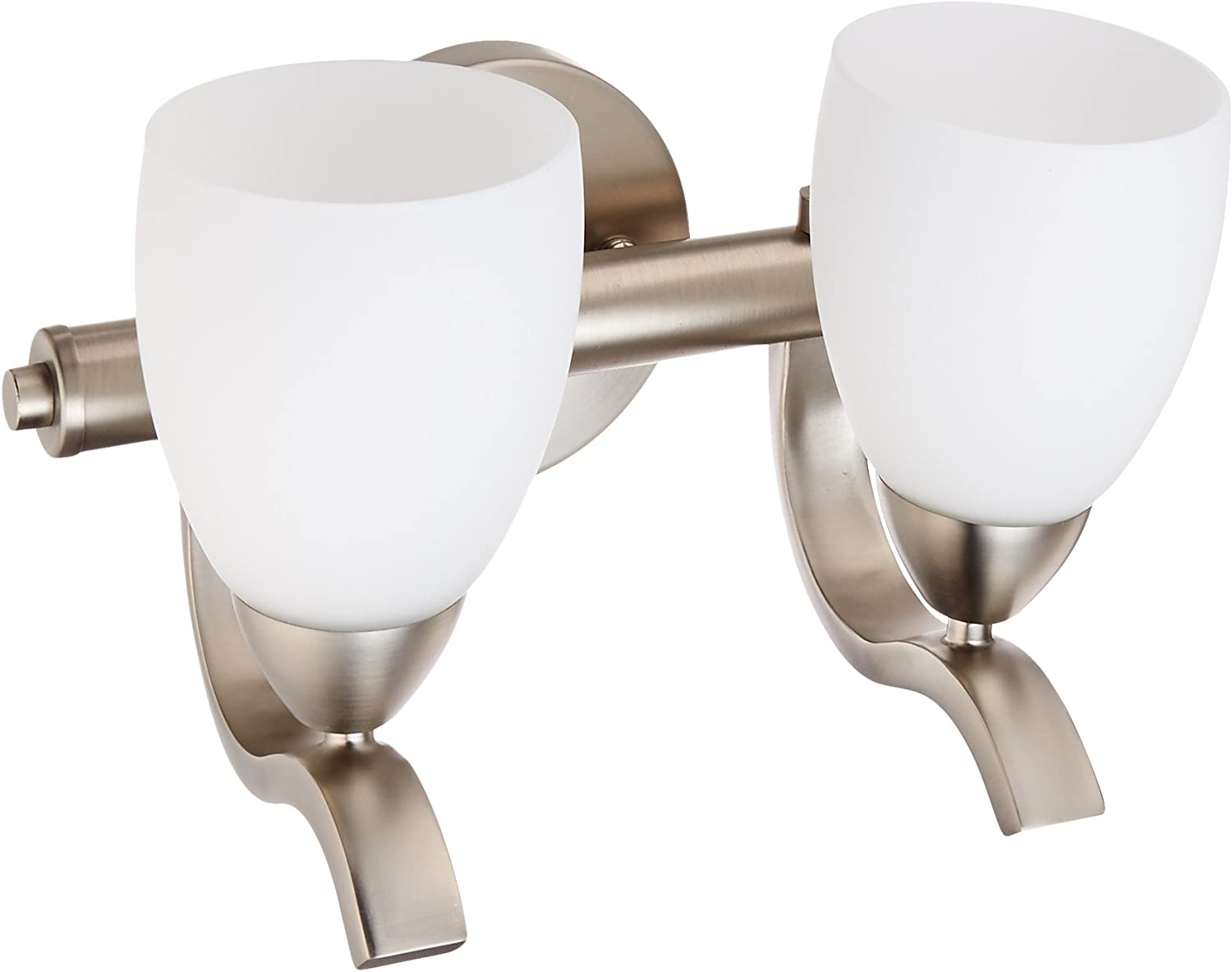 Forte Lighting 5045-02-55 2-Light Traditional Vanity Fixture, Brushed Nickel Finish with Satin Opal glass