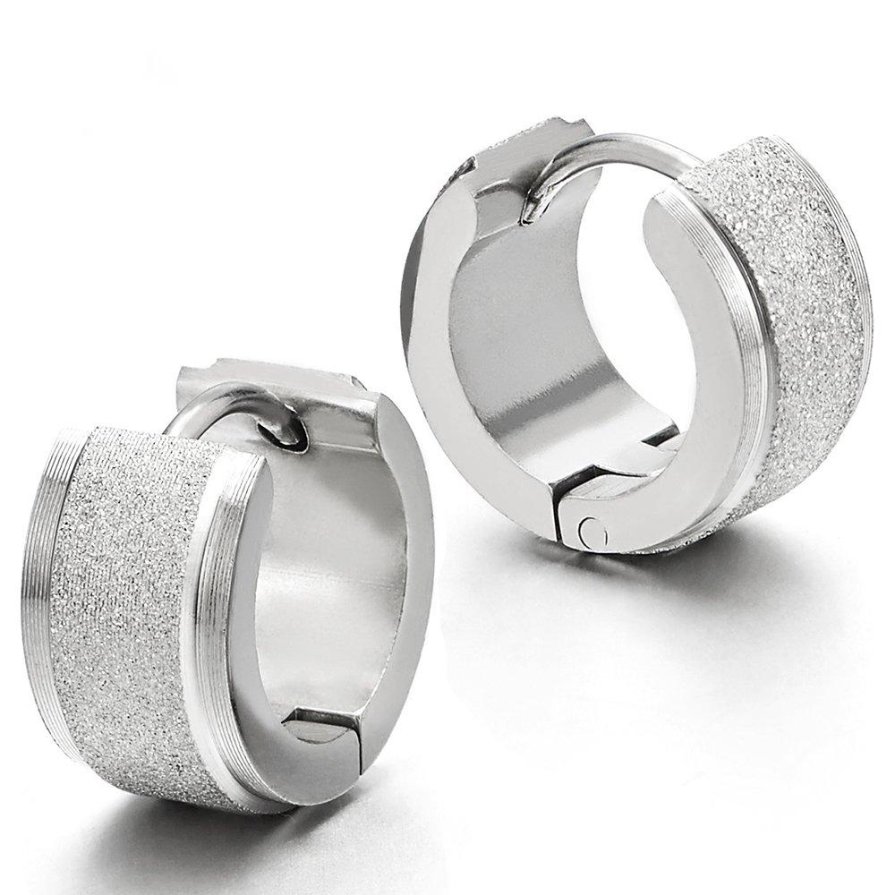 Pair Unisex Stainless Steel Huggie Hinged Hoop Earrings for Men Women, Satin Finishing