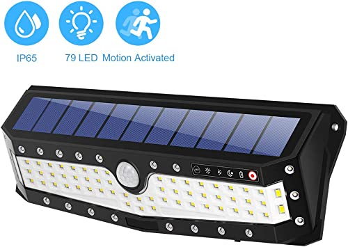 Motion Sensor Light Outdoor,79 LED Motion Solar Lights Wireless Waterproof Security Night Light with 4 Optional Modes Upgraded 700 Lumens