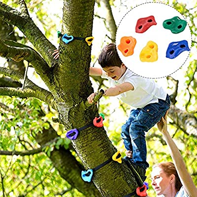 ETE ETMATE 15 Tree Climbing Holds and 6 Ratchet Straps for Kids Climber,Tree Climbing Rock Climbing Suit,Adult Climbing Rocks for Warrior Obstacle Course Training: Toys & Games