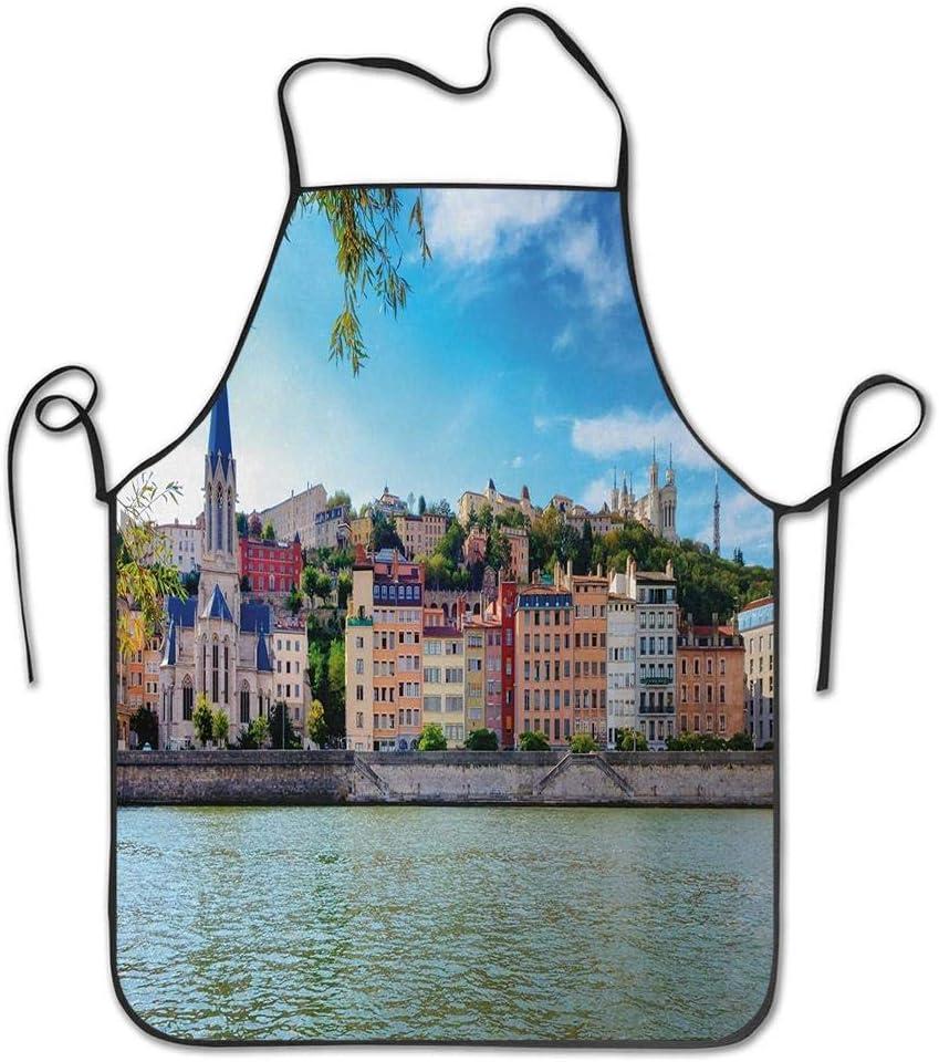 Not Applicable Lyon City Village Francia con Colorida Catedral histórica por River Panorama Delantal para Cocina BBQ Barbecue Cooking Chef Gift para Mujeres/Hombres