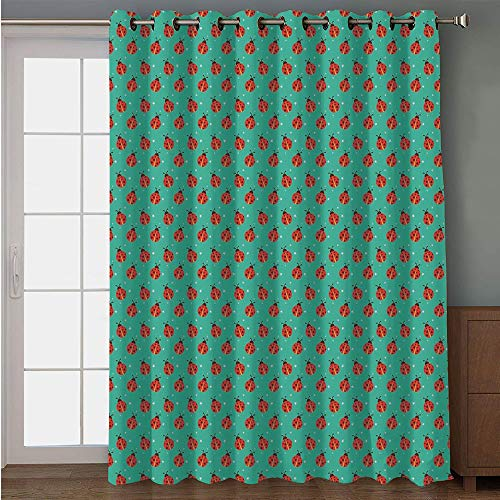 Blackout Patio Door Curtain,Modern,Cute Ladybugs with Little Star Motifs Spring Nature Pattern on Blue Background,Teal Red Black,for Sliding & Patio Doors, 102