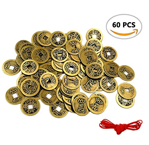 Chinese Good Luck Dragon (A Little Lemon 60 Pack Double Dragon Chinese Good Luck Coins,Shui I-ching Coins,Mixed 6 Differern Chinese Dynasty Time Coin,A Big Value,Special gift)