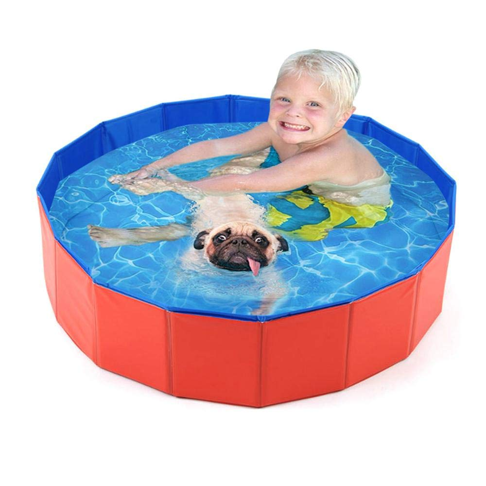 Red Baby Tub & Pet Tub, Foldable Dog Pet Bath Pool Collapsible Dog Pet Pool Bathing Tub Kiddie Pool for Dogs Cats and Kids