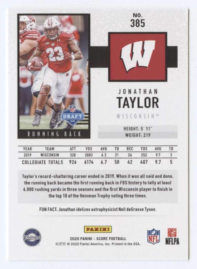 2020 Score #385 Jonathan Taylor RC Rookie Wisconsin Badgers Football Trading Card