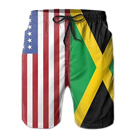 0508258d5d USA Fiag Jamaican Flag Men's Summer Hipster Beach Board Shorts Breathable  Surf Swim Trunks