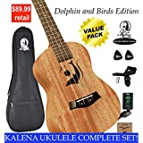 """Kalena Factory Direct Ukulele with instruction book, strap, tuner, extra strings, felt picks, complete set for all ages (24"""" Concert Dolphin & Birds, Sanded Mahogany)"""