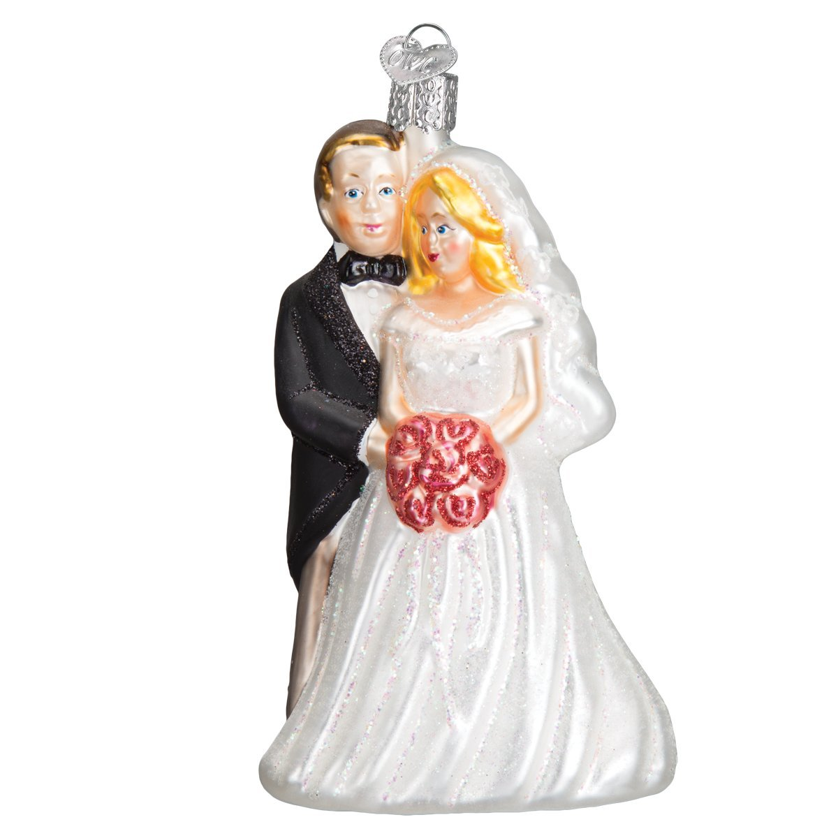 Old World Christmas Ornaments: Bridal Couple Glass Blown Ornaments for Christmas Tree