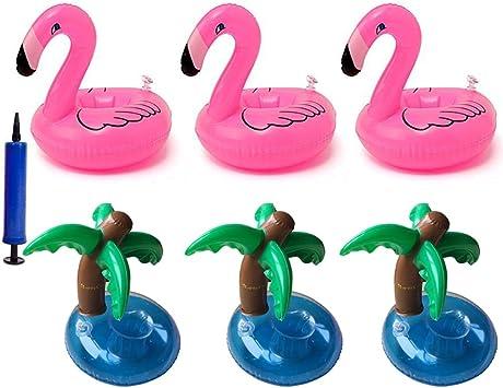ResPai Flamencos Hinchable Flotador Bebidas Flamingo Palmera ...