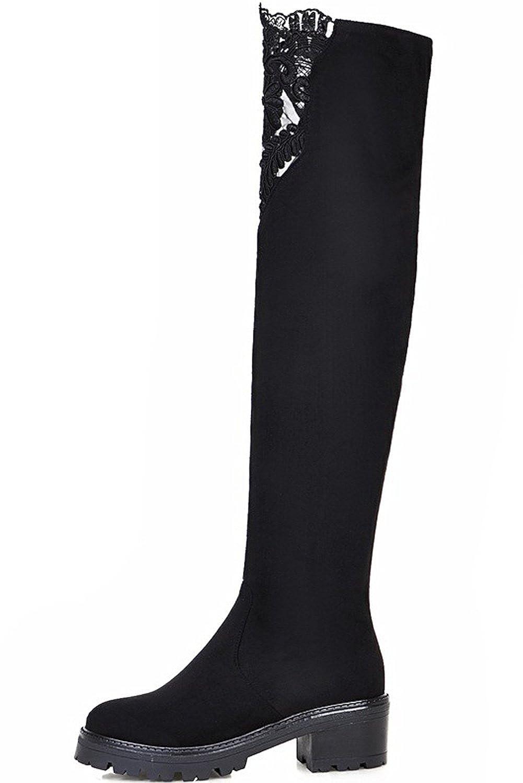 BIGTREE Lang Stiefel Damen Schwarz Bestickte Blockabsatz Elegant Plateau Spitzen Overknees Stiefel von 36 EU Ujpa8n