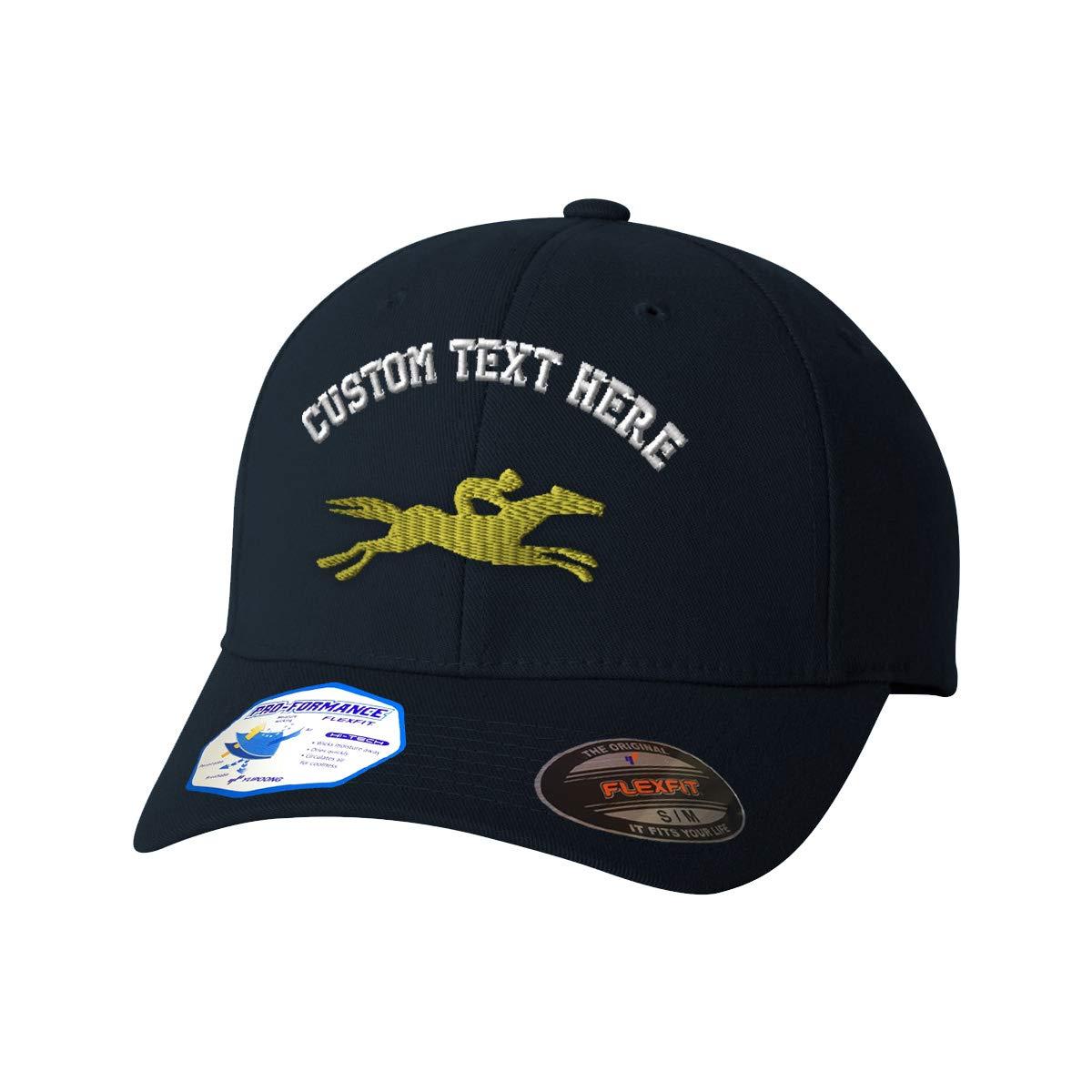 a4428b07082 Amazon.com  Custom Text Embroidered Horse Racing Flexfit Hat Baseball Cap  Dark Navy  Clothing
