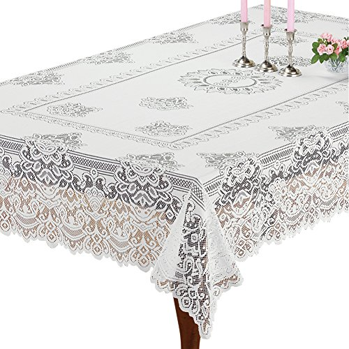 Collections Etc Elegant White Lace Tablecloth/Table Overlay, Scalloped Edge, for Living Room or Dining Room, Rectangle