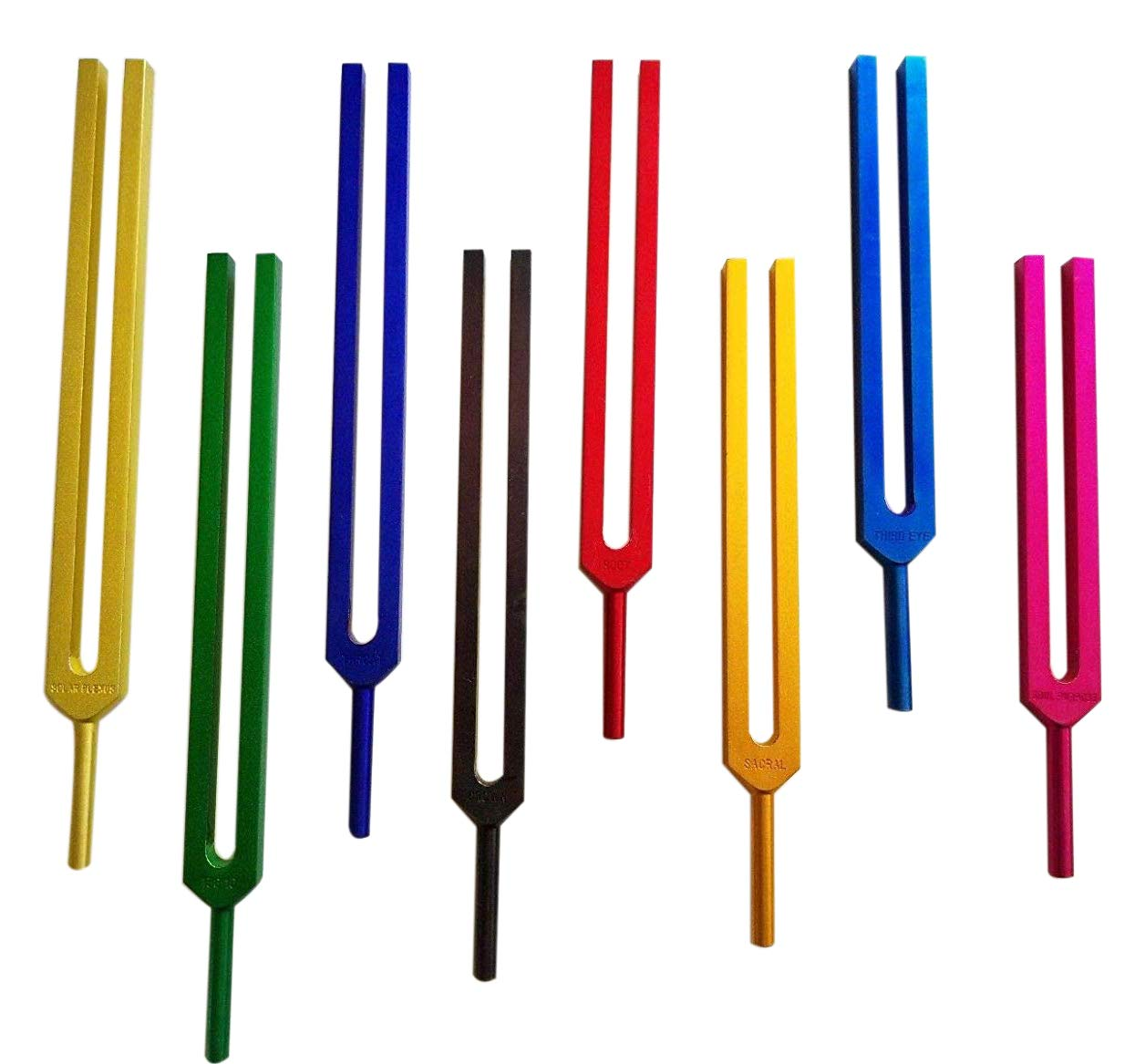 Radical Colored Chakra & Soul 8 Unweighted Tuning Forks for Sound Energy Field Healing with Activator & Pouch by Radical