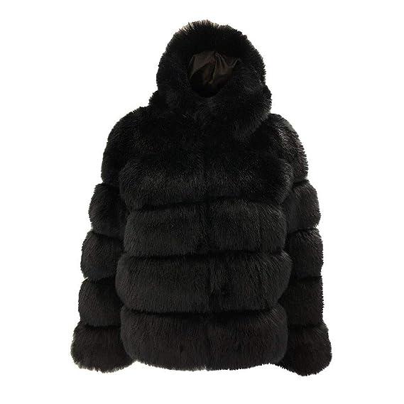 FuweiEncore Escudo de Las señoras Outwear Chaqueta Parka Moda para Mujer Abrigos de visón Invierno con Capucha de Piel sintética Cálido Grueso Prendas de ...