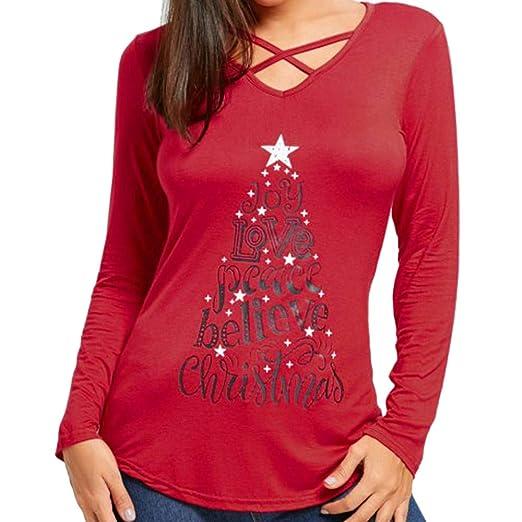 67f1abdf Womens Christmas Letter Print T-Shirt Tunic Tops AmyDong Sexy Criss Cross  Front V-