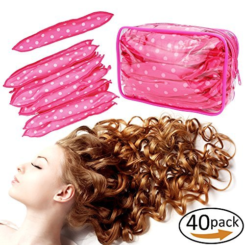 40Pcs Sponge Flexible Foam Hair Curlers Soft Sleep Pillow Hair Rollers Set with 1pcs Cosmetic (Soft Hair Rollers)