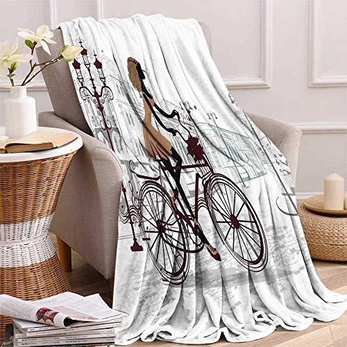 "maisi Teen Room Decor Super Soft Lightweight Blanket Young Girl in Paris Streets with Bike French Display Oversized Travel Throw Cover Blanket 70""x50"" Chestnut and Light Brown Pearl"
