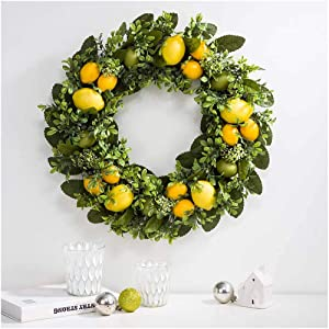 """Glitzhome 22"""" D Artificial Greenery Lemon Wreath Decorative Spring/Summer Wreath for Front Door or Wall Decor"""